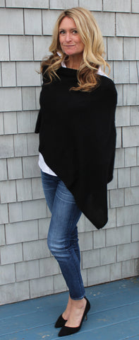"100% Cashmere Dress Topper in ""Black"""