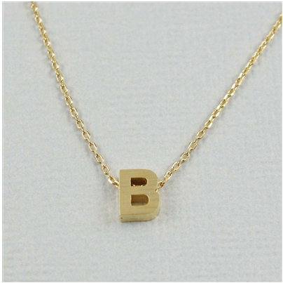 "Short Block Initial Necklace ""B"""