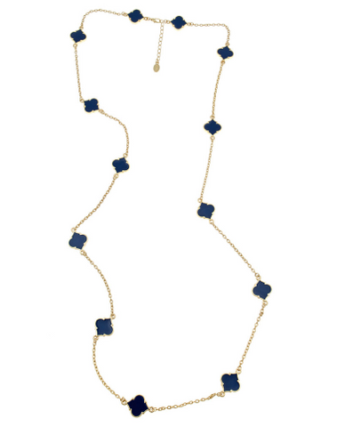 The Spade Cutout Necklace in Navy