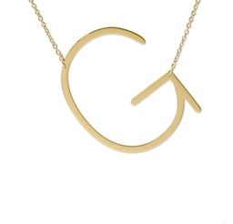 "Sideways Initial Necklace ""G"""