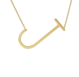 "Sideways Initial Necklace ""J"""