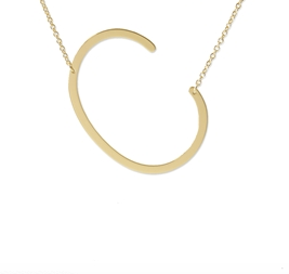 "Sideways Initial Necklace ""C"""