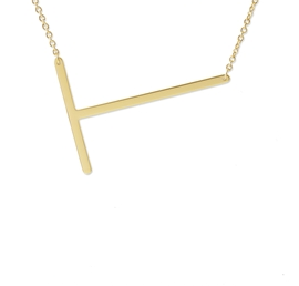 "Sideways Initial Necklace ""T"""