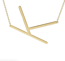 "Sideways Initial Necklace ""K"""