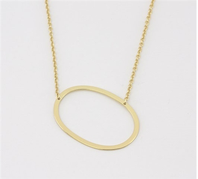 "Sideways Initial Necklace ""O"""