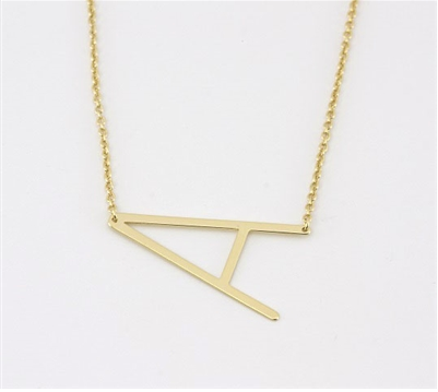 "Sideways Initial Necklace ""A"""