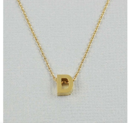 "Short Block Initial Necklace ""D"""