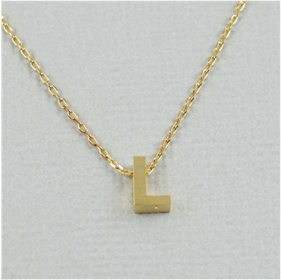 "Short Block Initial Necklace ""L"""
