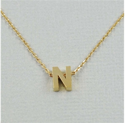 "Short Block Initial Necklace ""N"""
