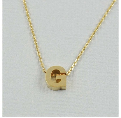 "Short Block Initial Necklace ""G"""