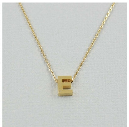 "Short Block Initial Necklace ""E"""
