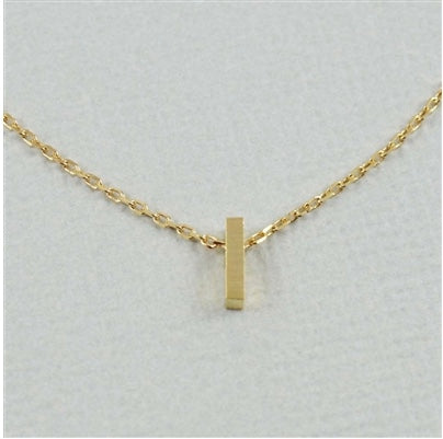 "Short Block Initial Necklace ""I"""