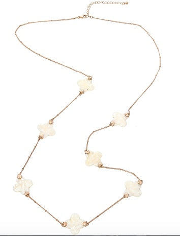 Long Clover Necklace (Ivory)