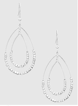 Silver Beaded Tear Drop Earrings