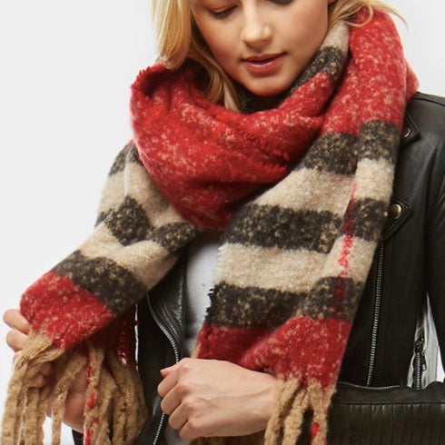 Red Plaid Boule Scarf with Fringe
