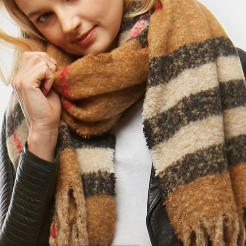 Tan Plaid Boucle Scarf With Fringe