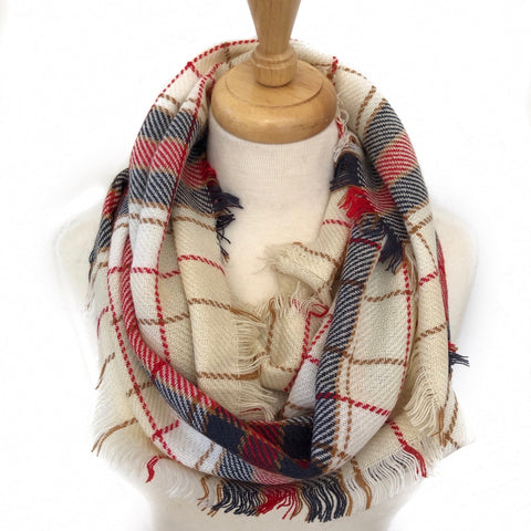 Beige, Blue and Red Infinity Scarf