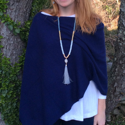 Cashmere Dress Topper in Navy