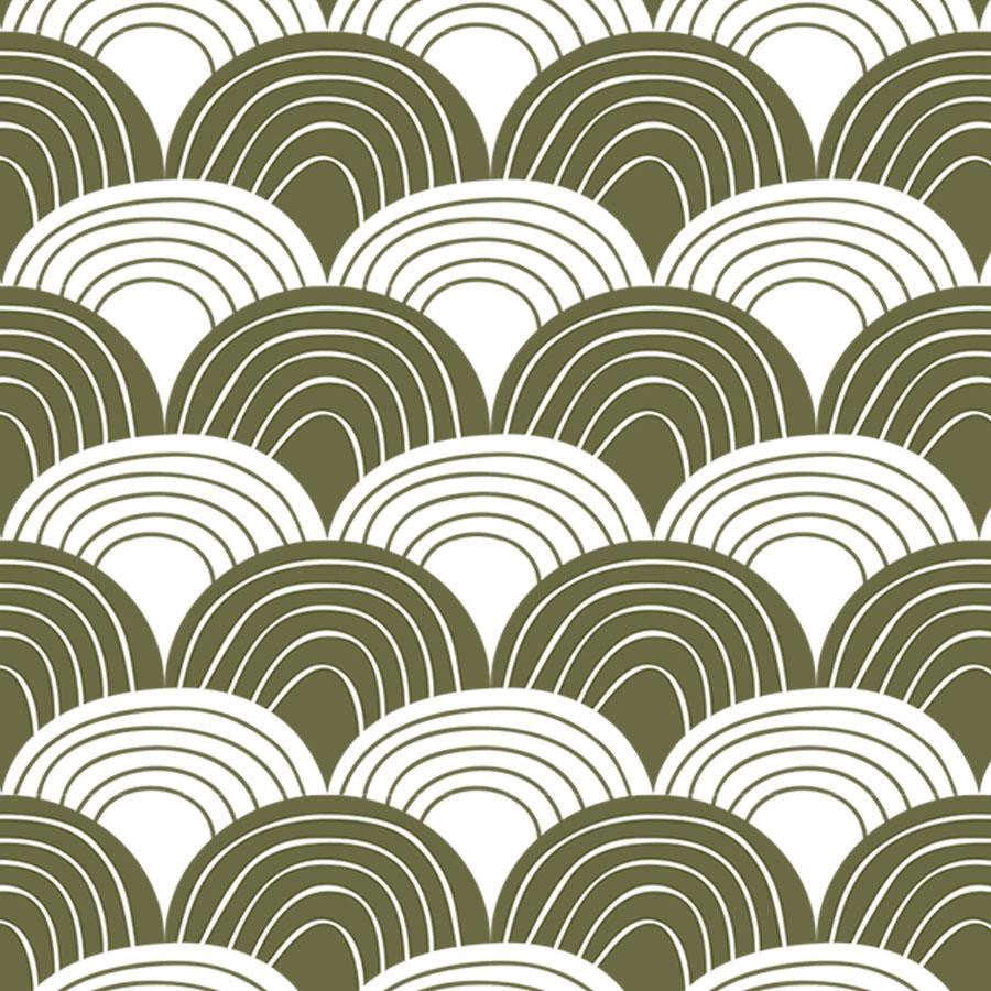 Swedish Linens Hoeslaken Rainbows Olive Green
