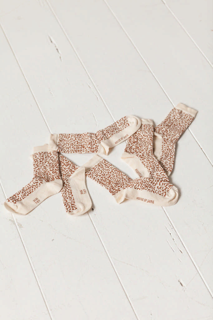 House Of Jamie Sokken Cream & Toffee Leopard