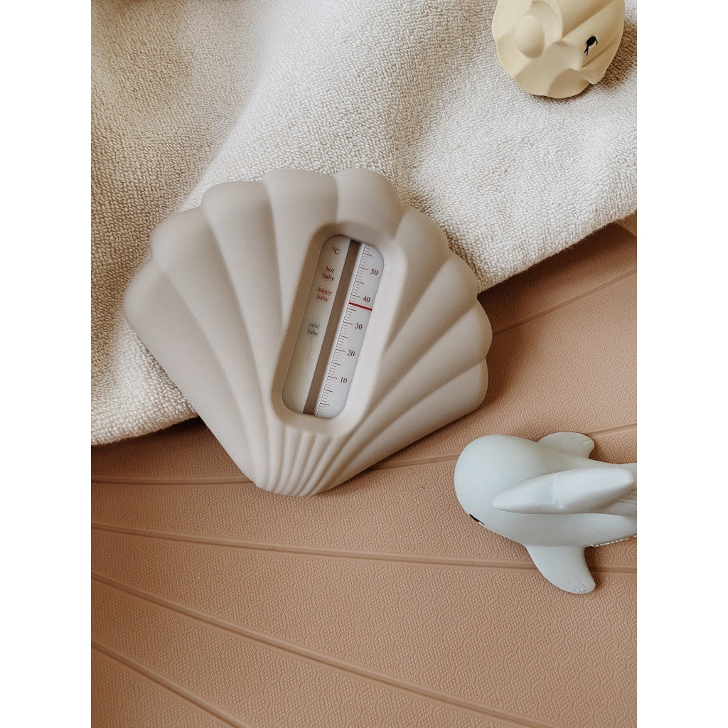 Konges Sløjd Bad Thermometer Silicone Clam Warm Grey