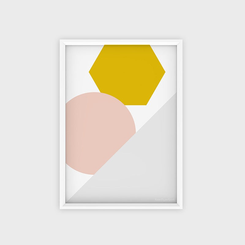 Poster Hexagon Yellow Pink