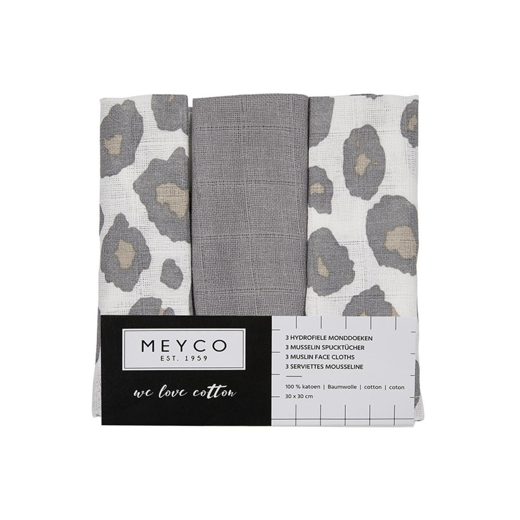 Meyco Monddoekjes Panter Neutral 3-pack