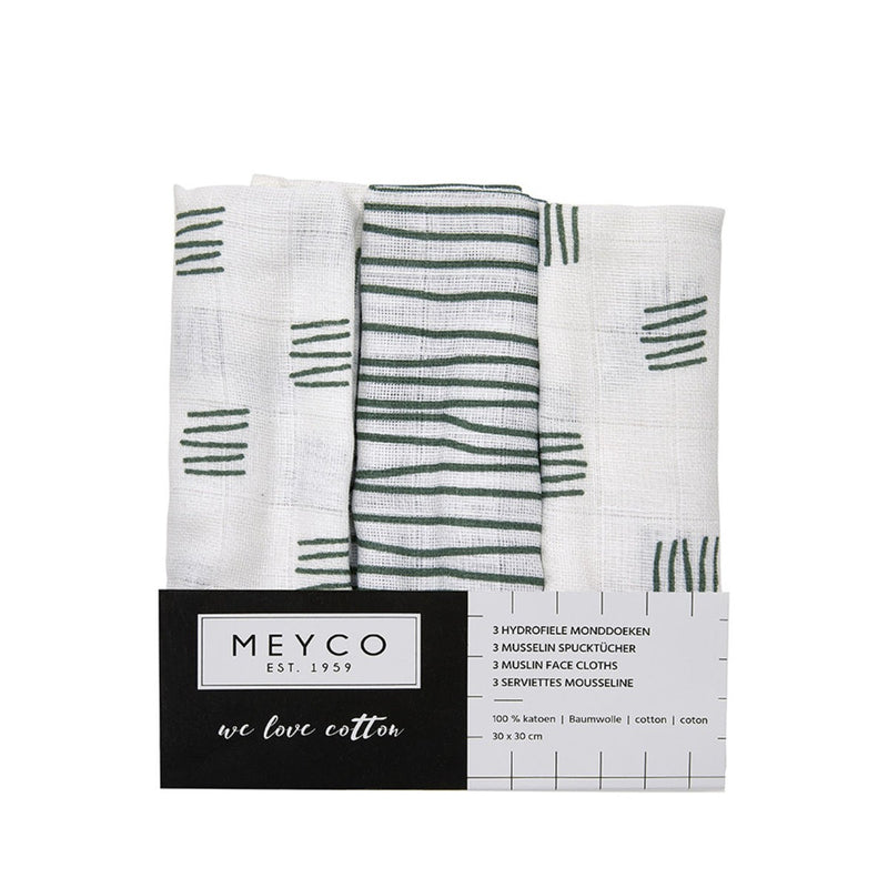 Meyco Monddoekjes Block Stripe Green 3-pack