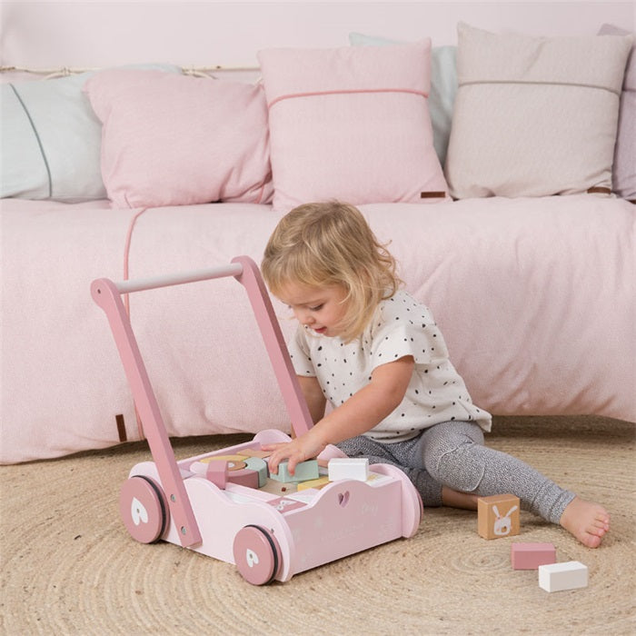 Little Dutch Houten Blokkenkar Pink
