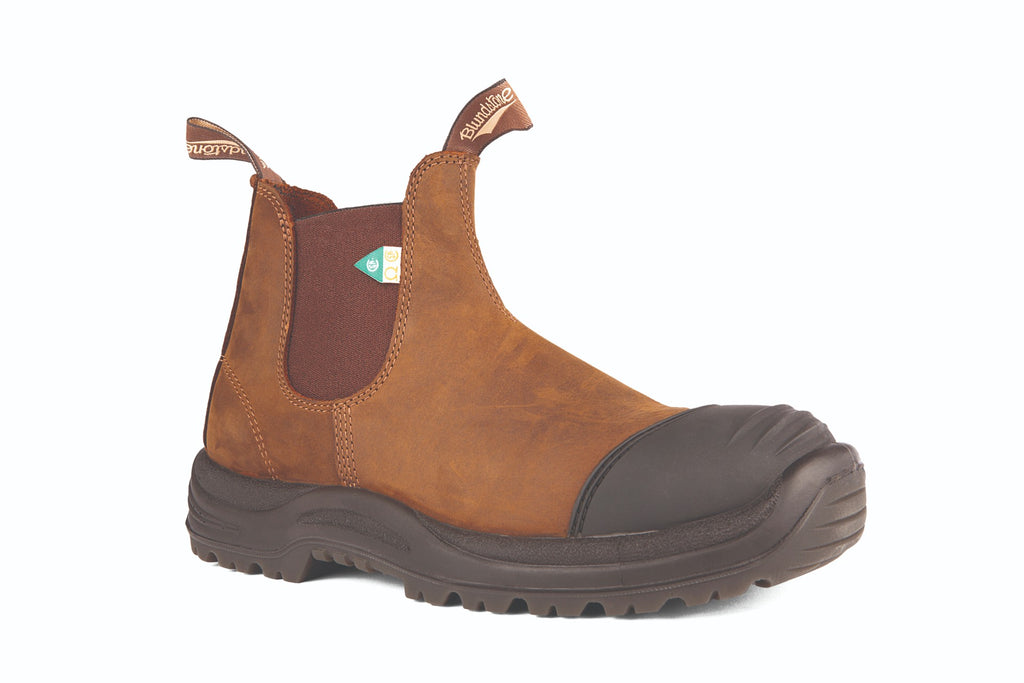 Blundstone Work and Safety Boot Rubber Toe Cap. The green patch CSA Rubber Toe Cap  takes safety seriously.