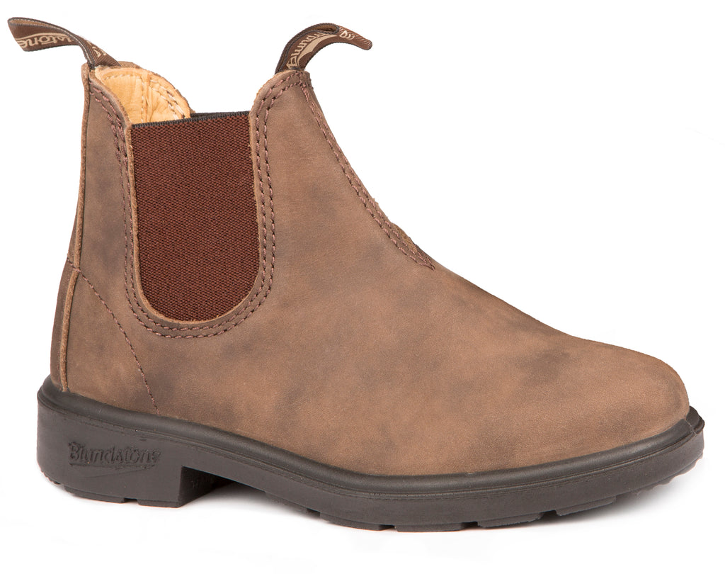 Blundstone Kids Original Rustic. Kids leather boot with weatherproof elastic
