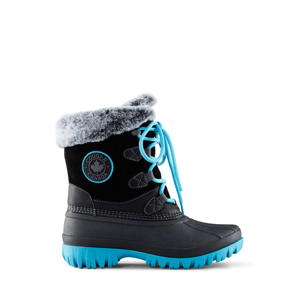 Cougar Kid's Colette 2 Snow Boot Black. Waterproof base. Faux fur collar. Removable insoles.