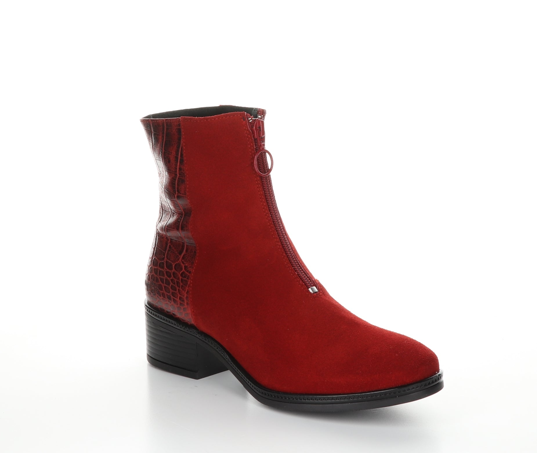 Bos and Co JORDAN Waterproof Boot Red. Ankle height front zip WATERPROOF boot with flexible sole