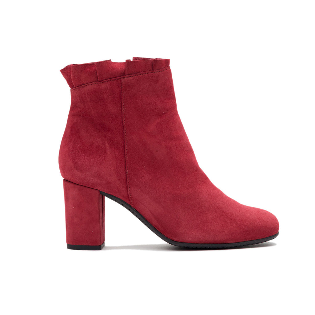 Ateliers Sierra Red Boot- Women's soft suede bootie with ruffle detailing.