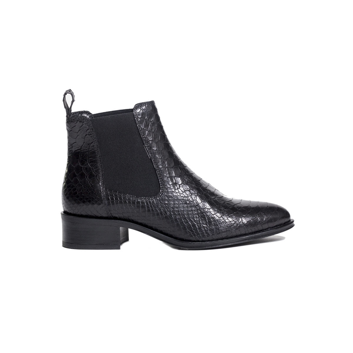 Ateliers Bobby Boot- Snake leather Chelsea boot on a stacked heel