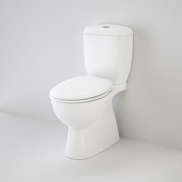 Caroma Caravelle Easy Height 'Armrest Enabled' Close Coupled (BacEnt) Suite with Caravelle Commercial Double Flap Seat - White