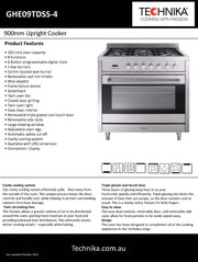 900mm stainless steel dual fuel upright cooker
