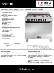 900mm Technika Stainless Steel Dual Fuel Upright Cooker