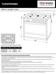 900mm stainless steel / black glass upright cooker