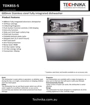 600mm Stainless steel fully integrated dishwasher