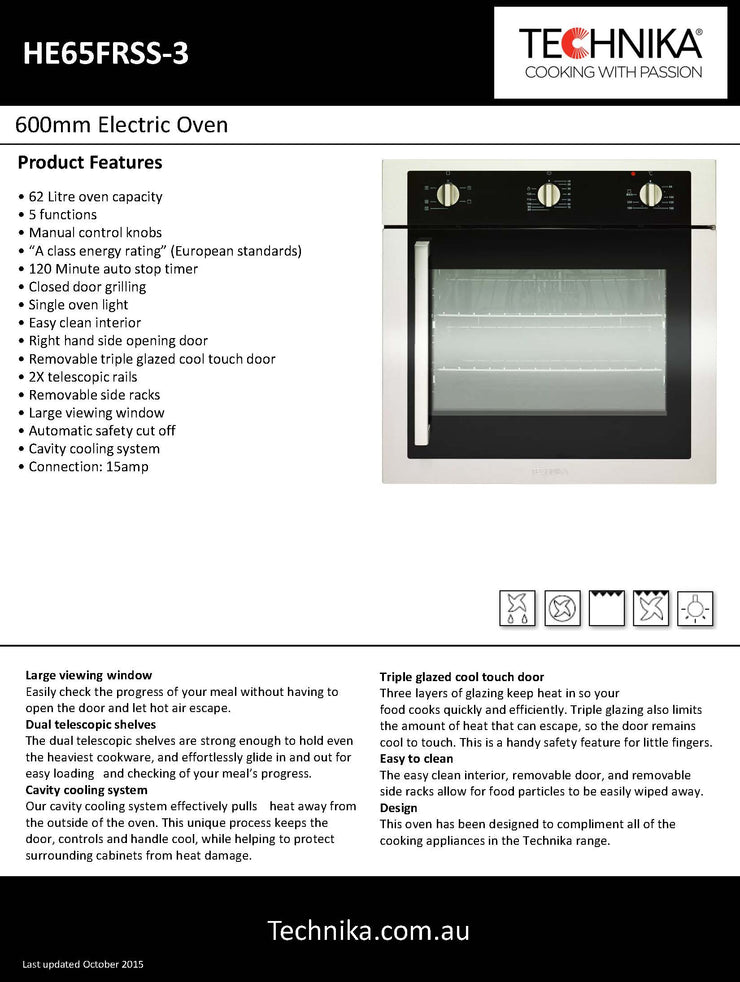 600mm stainless steel built in Technika oven