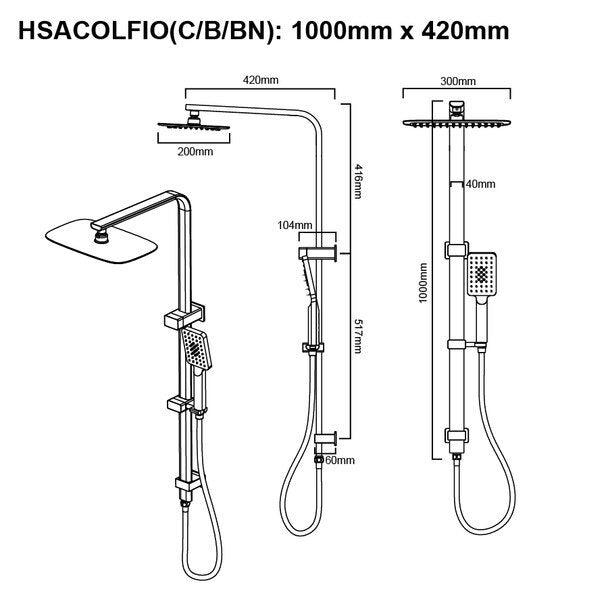 Square 2 in 1 Shower Column Set - PLUMBCORP BATHROOM & KITCHEN CENTRE