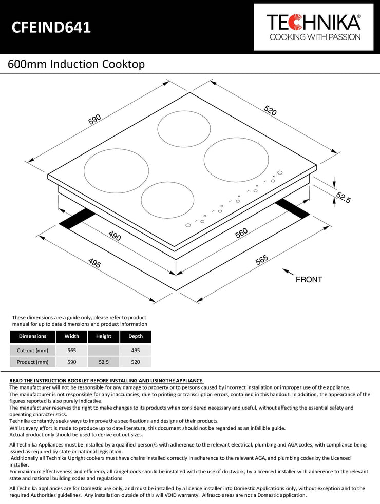 600mm induction cooktop