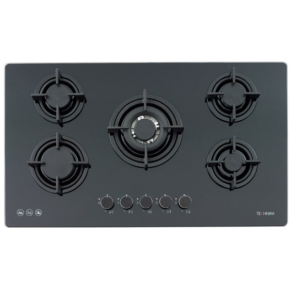 900mm black glass gas cooktop
