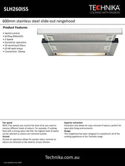Technika slideout rangehood 600mm stainless steel slideout rangehood SL10190ISS-4