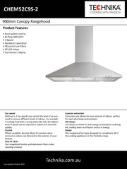 Technika canopy rangehood 900mm stainless steel canopy rangehood CHEM52C9S-2