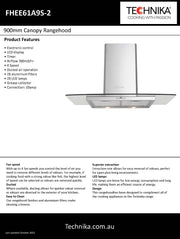 Technika canopy rangehood  900mm stainless steel and glass FHEE61A9S-2
