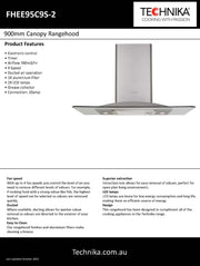 Technika  900mm stainless steel and glass canopy rangehood FHEE95C9S-2