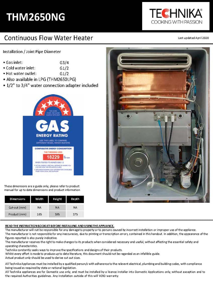 Natural Gas 26 Litre Continuous Flow Water Heater