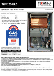 LPG 26 Litre Continuous Flow Water Heater